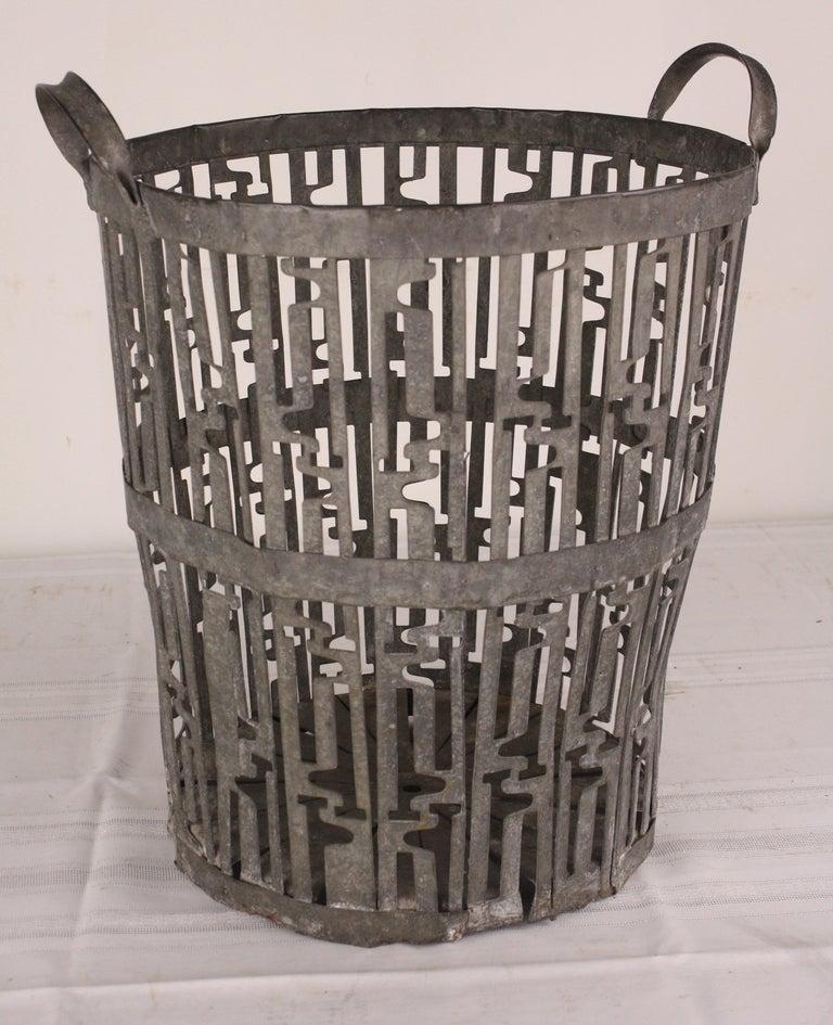 Large French Art Deco Steel Waste Basket At 1stdibs
