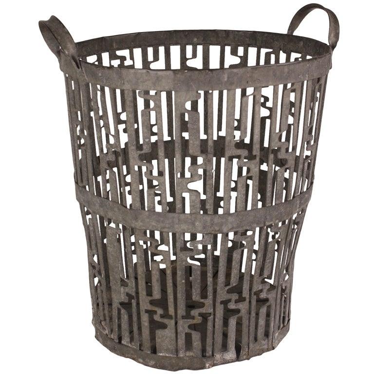 Art Deco Log Basket : Large french art deco steel waste basket at stdibs