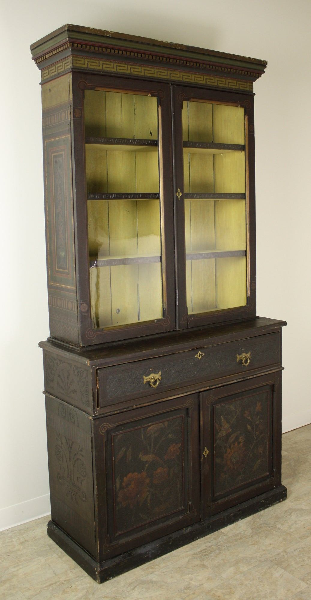Elaborate Antique English Victorian Painted Bookcase At