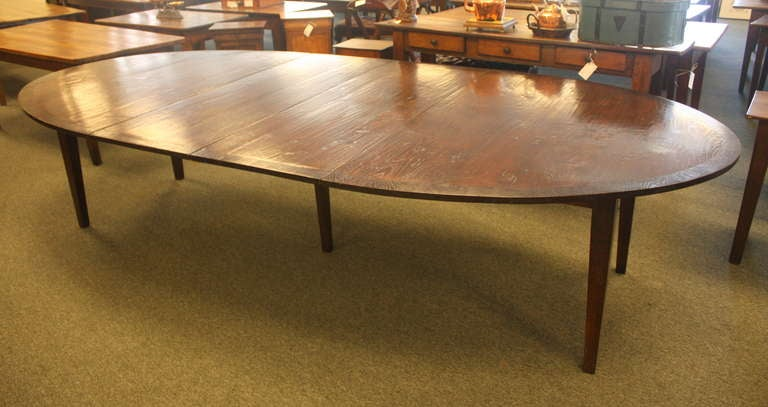 long oval banded dark oak dining room table two leaves