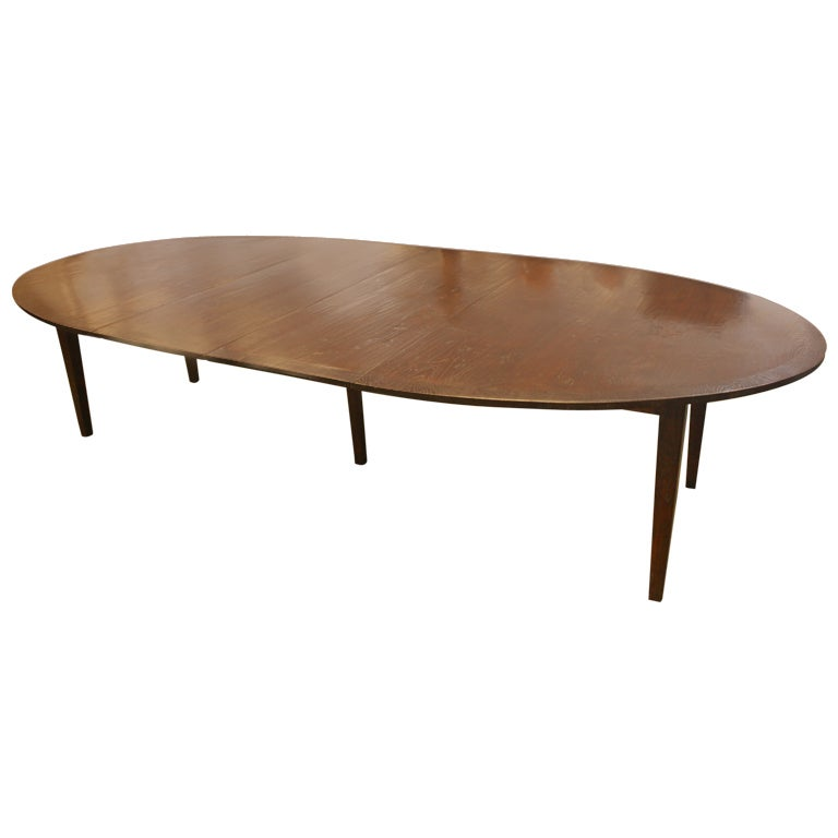 long oval banded dark oak dining room table two leaves at 1stdibs