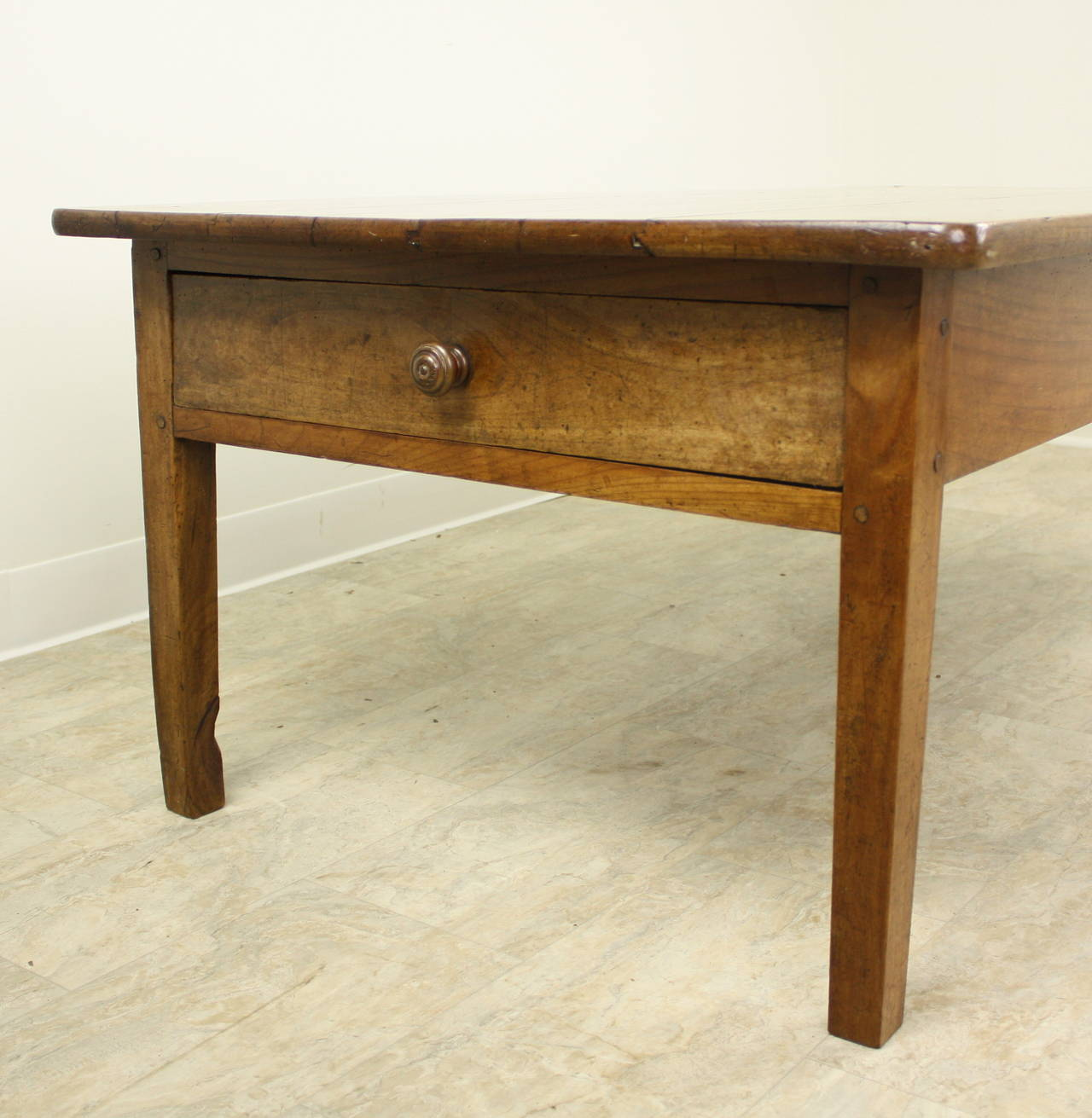 Antique French Cherry Two-Drawer Coffee Table For Sale At