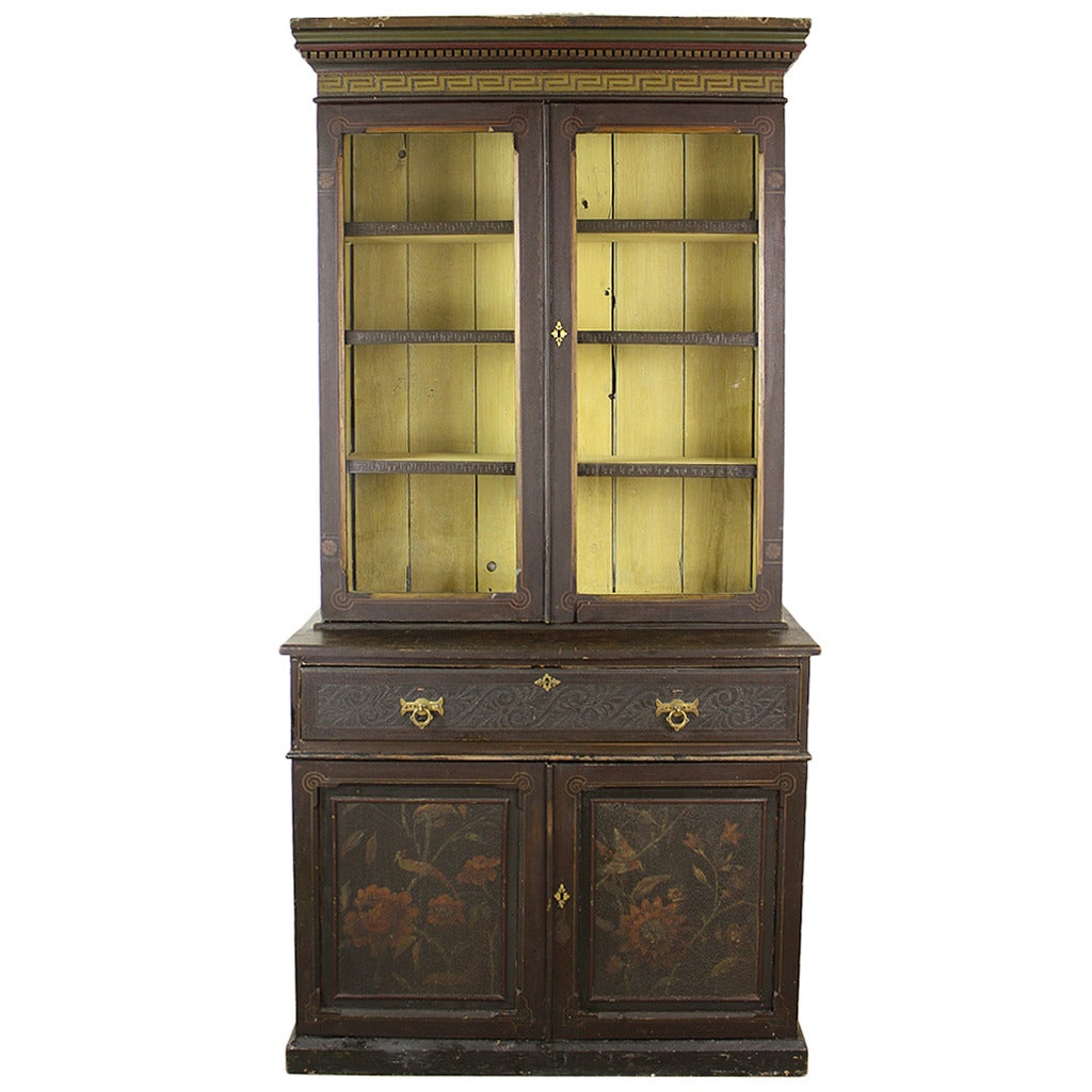 Elaborate Antique English Victorian Painted Bookcase For
