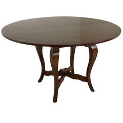 Round Cherry Ebony Banded Dining Table