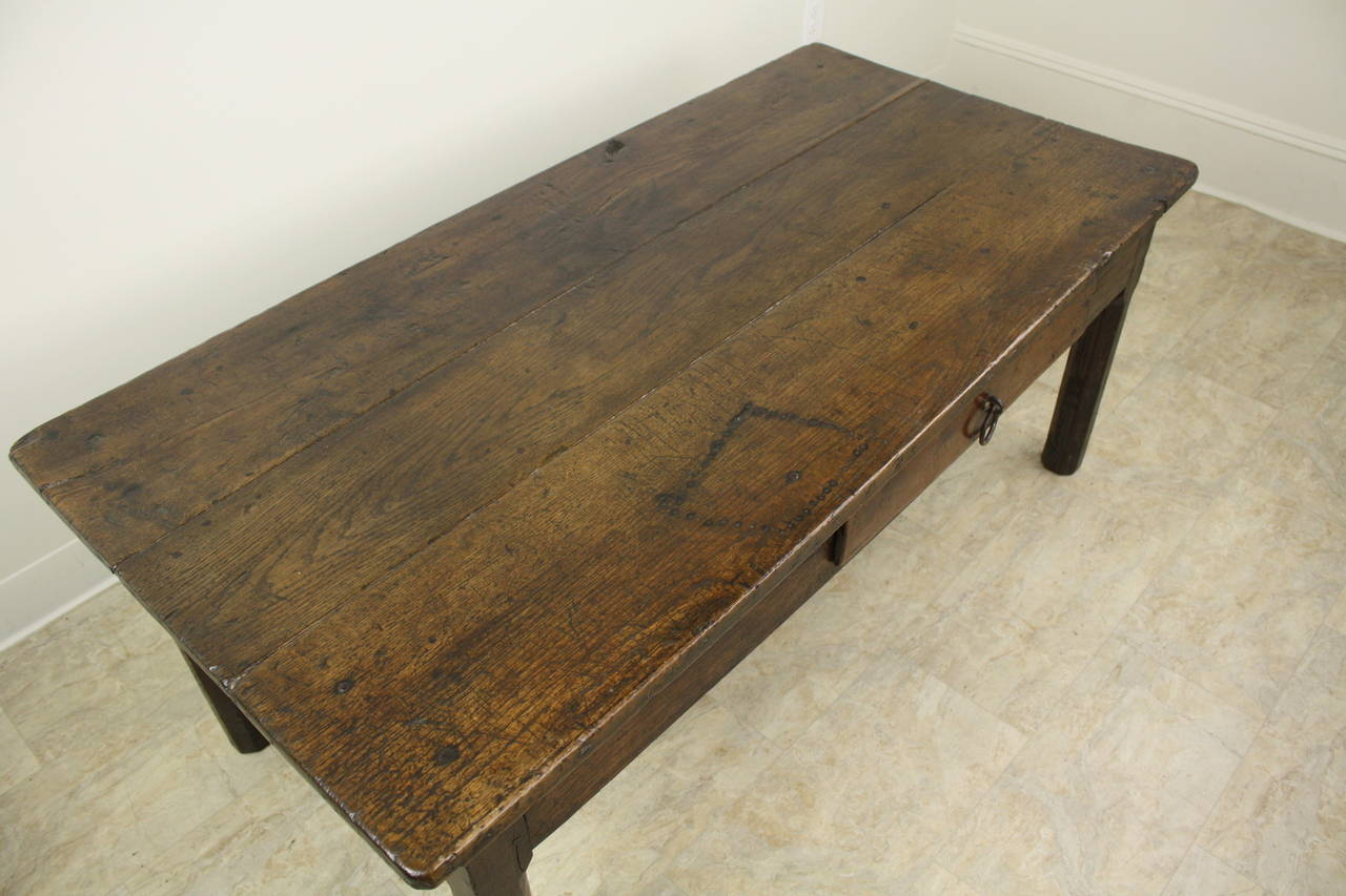 Mid-19th Century Early French Oak Coffee Table For Sale