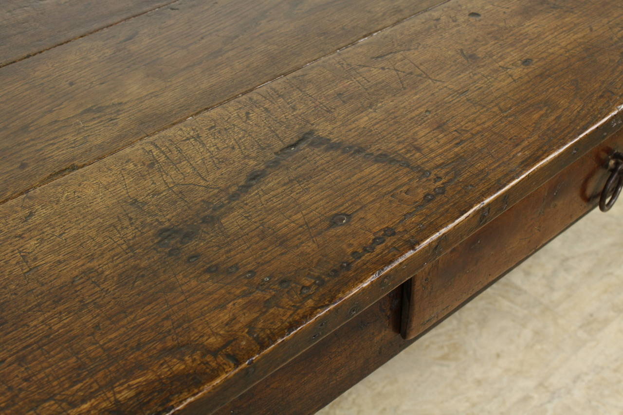 Iron Early French Oak Coffee Table For Sale