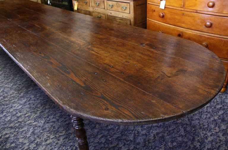 Very Long Antique Three Plank Pine Harvest Table At 1stdibs