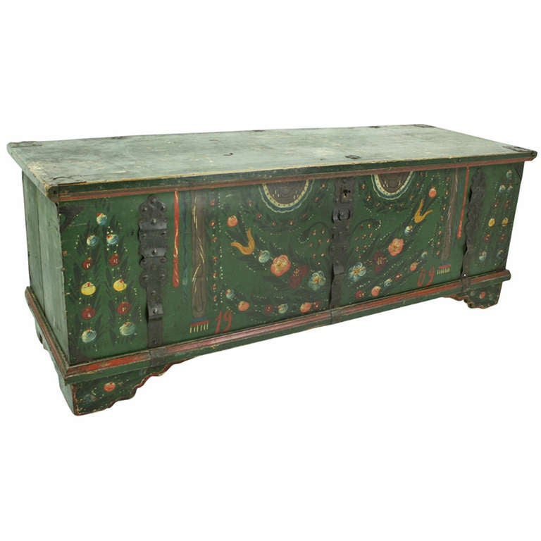 Large antique hungarian painted trunk at 1stdibs - How to paint an old trunk ...