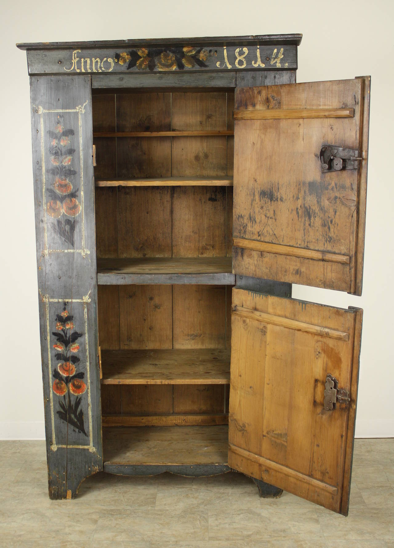 Antique French Alsatian Painted Armoire 1814 For Sale At