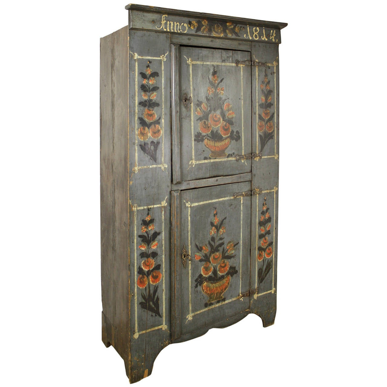 Antique French Alsatian Painted Armoire, 1814