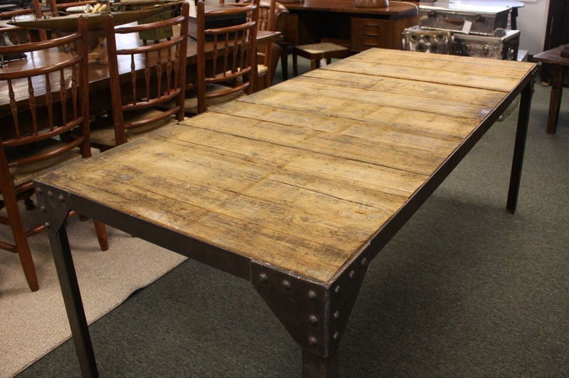 Rugged Topped Riveted Wood and Industrial Steel Dining  : 791012767136003 from 1stdibs.com size 800 x 531 jpeg 86kB
