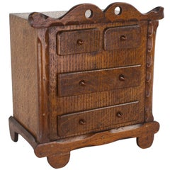 Antique English Miniature Oak Chest of Drawers