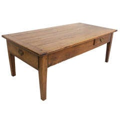 Antique French Cherry Coffee Table, Two Drawers