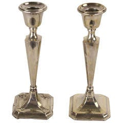 Pair of English 1918 Hallmarked Silver Candlesticks