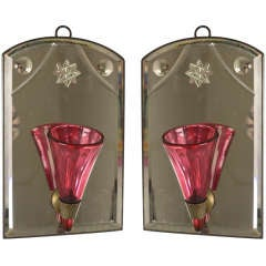 Pair of Antique French Hanging Wall Pockets, Cranberry Glass