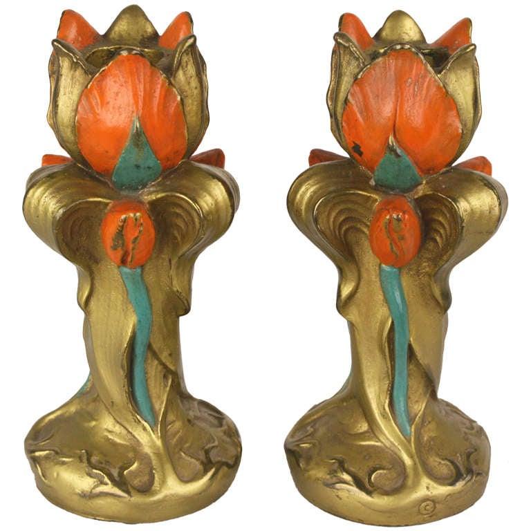 Antique English Art Deco Candlesticks