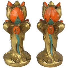 Pair of Antique English Art Deco Candlesticks