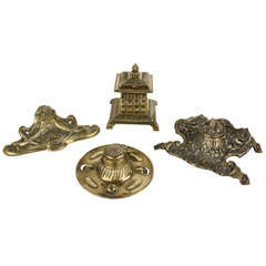 Collection of Four Antique English Brass Inkwells