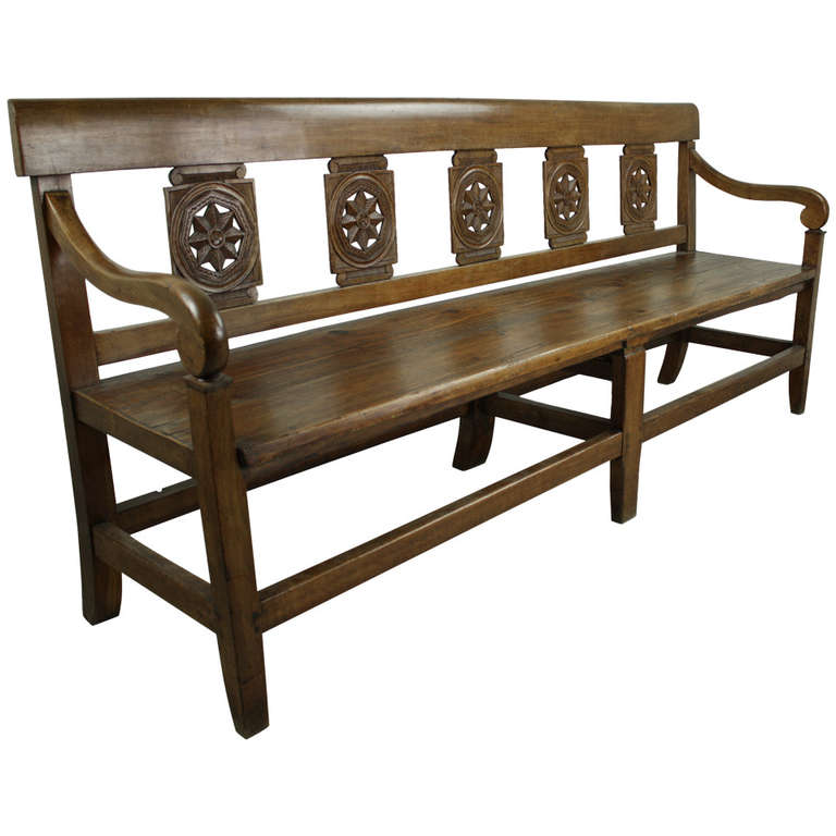 Long Antique French Cherry Directoire Bench At 1stdibs