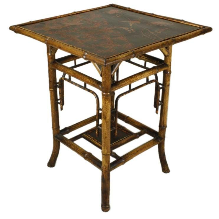 Antique bamboo original decorative lacquer side table at for Bamboo side table