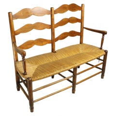 Two-Seat Antique French Country Cherry Bench
