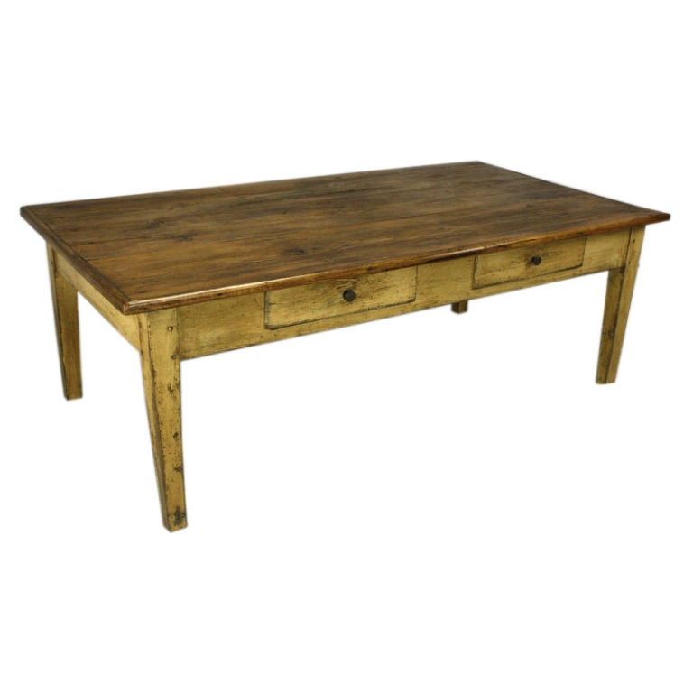 Large antique french pine coffee table with old painted base at 1stdibs Coffee table antique