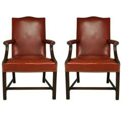 PAIR of Vintage Gainsborough Style Leather Chairs