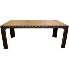 Large Riveted French Steel Dining Table