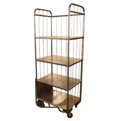 Tall Four-Tiered French Industrial Steel Trolley