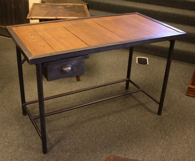 french vintage industrial steel desk with wood top one. Black Bedroom Furniture Sets. Home Design Ideas