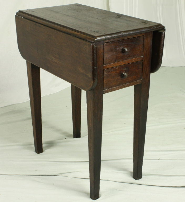Oak Small Antique French Drop Leaf Side Table For