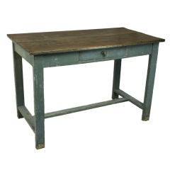 Antique Blue Painted Pine Side Table