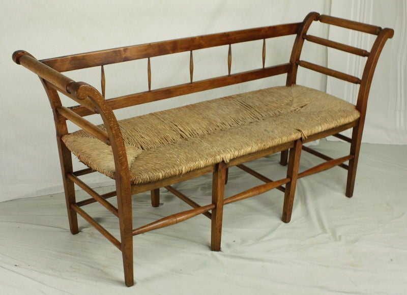 Antique French Fruitwood Rush Seat Bench At 1stdibs