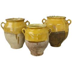 Three French Antique Glazed Confit Pots