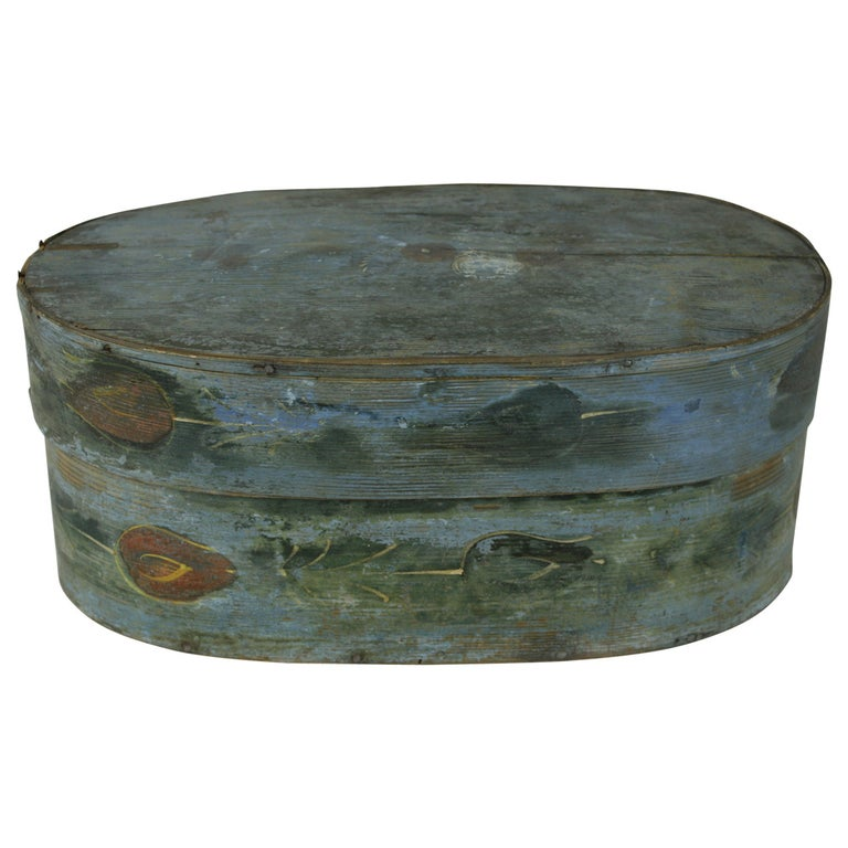 Antique French Folk Art Box with Traces of Painted Flowers For Sale