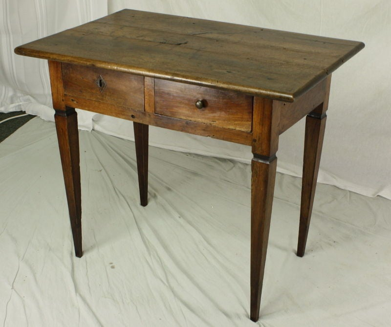 Lovely Antique Side Table From France Walnut With A Wonderful Grain And Glowing Patina