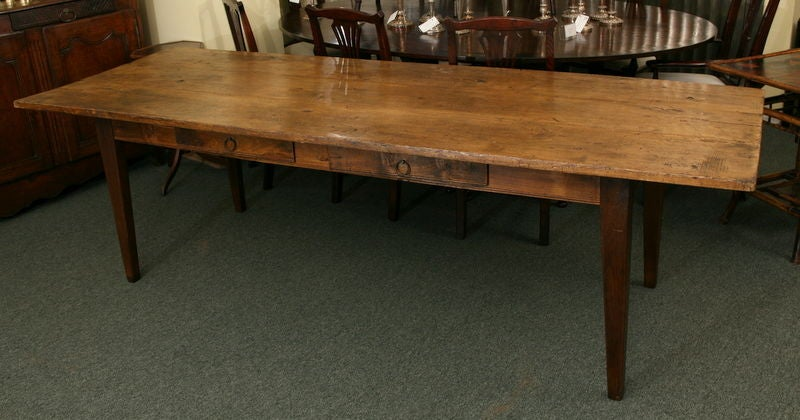 Long French Antique Dining Table 2 Drawers Thick Top At 1stdibs
