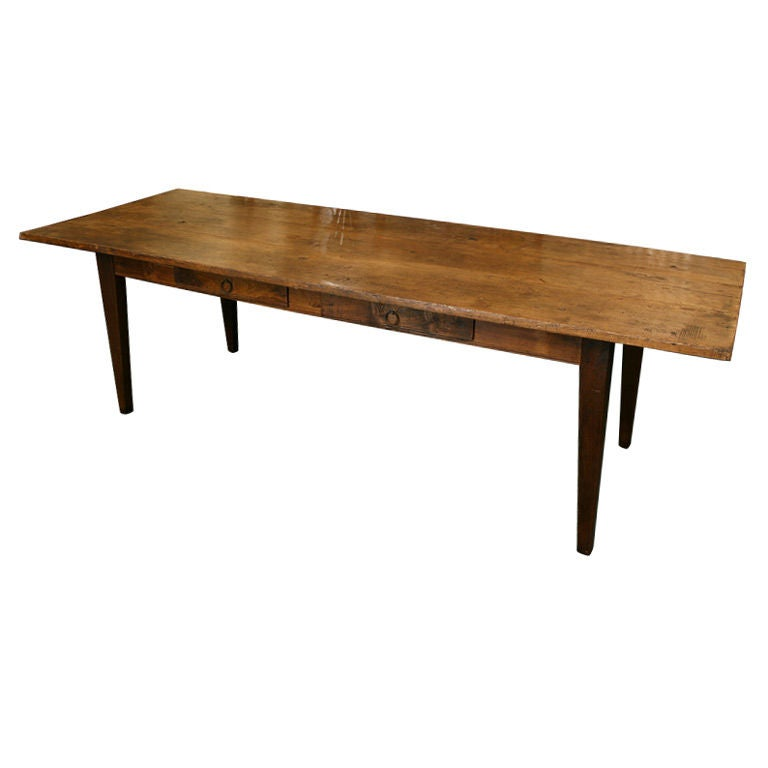 Long French Antique Dining Table 2 Drawers Thick Top at  : XXX791012944298731 from www.1stdibs.com size 768 x 768 jpeg 24kB