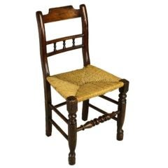 Early Antique English Country Oak Side Chair