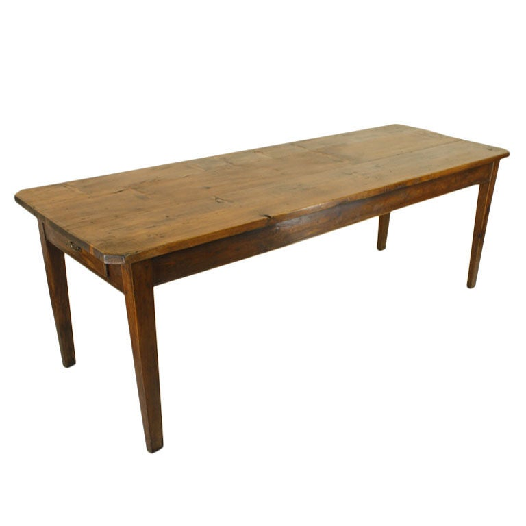 Long antique french pine farm table for Pine dining room table