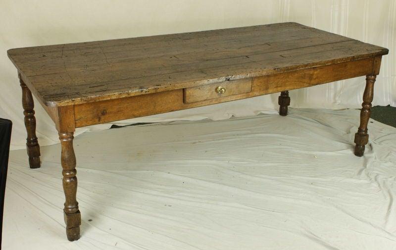 Antique French Oak Long Turned Leg Farmhouse Table 2