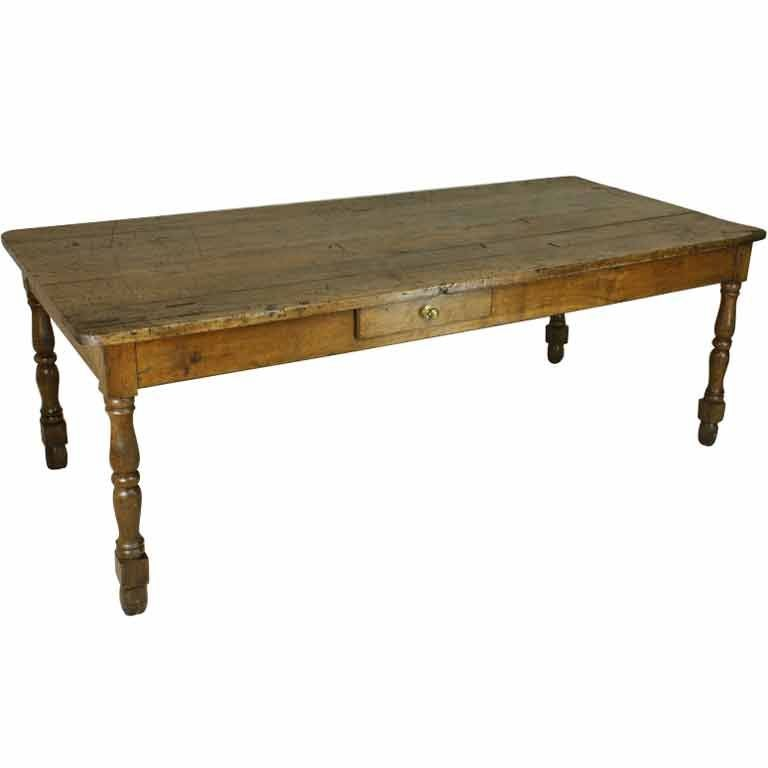 Antique french oak long turned leg farmhouse table at 1stdibs for Long dining table