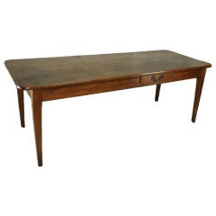 Antique French Cherry Farmhouse Table, Two Board Top