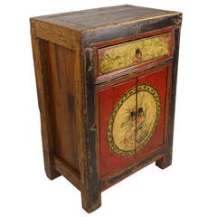 Colorful Antique Mongolian Side Table/Cabinet