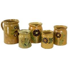 Five Antique French Decorative Alsace Jugs