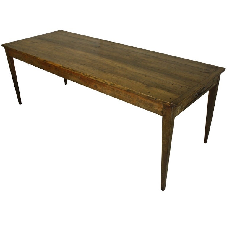 Antique french pine long farmhouse table at 1stdibs for Long dining table