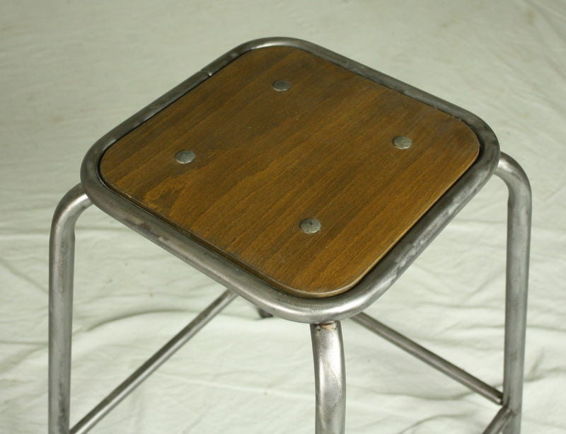 Vintage French Industrial Counter Stools Set Of Four At