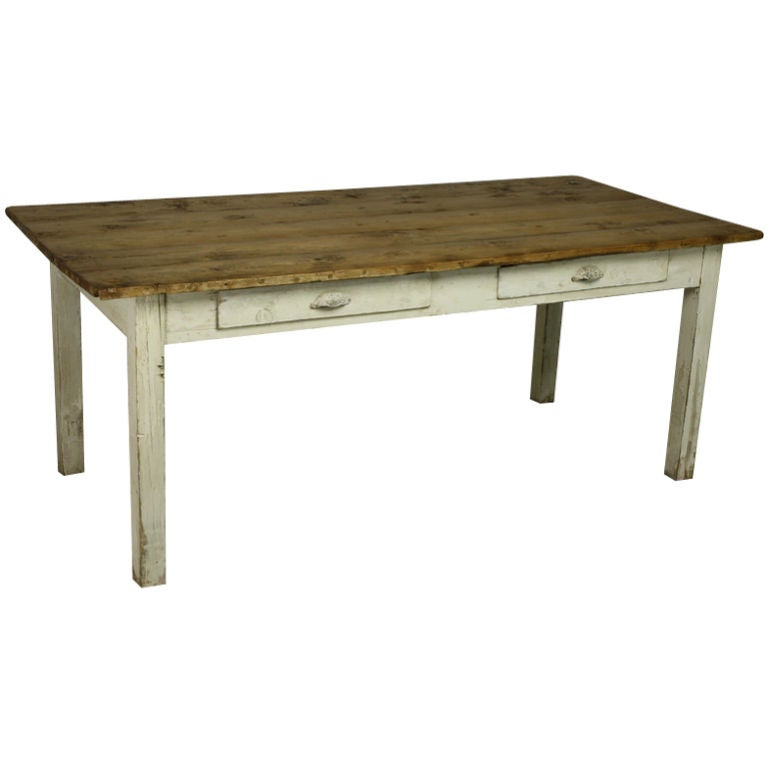 Antique english pine wide country dining table painted for Pine dining room table