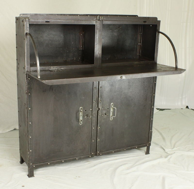 French Industrial Steel Drop Front Desk Bar Cabinet At 1stdibs