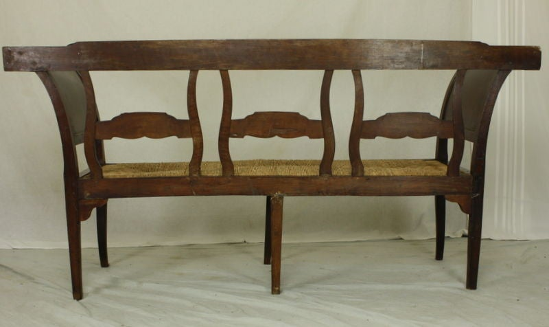 Antique Carved French Walnut Bench, Rush Seat For Sale 3